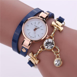 Watches-blue-PU Leather Bracelet & Crystal Pendant Watch by Carude for a Woman's Vegan Lifestyle