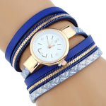 Watches-Blue-PU Leather Bracelet Wrist Watch for a Woman's Vegan Lifestyle