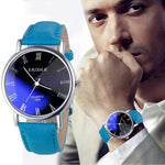 Watches-Blue-PU Leather Business Wrist Watch by Yazole for a Man's Vegan Lifestyle