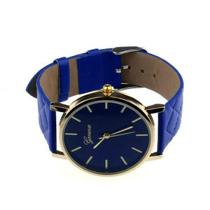 Watches-Blue-PU Leather Casual Watch by Geneva for any Vegan Lifestyle