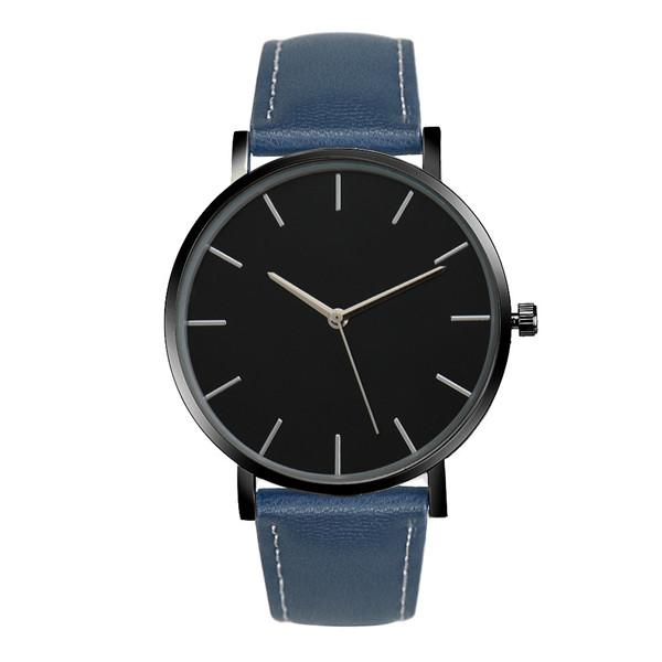 Watches-Blue-PU Leather Casual Watch for any Vegan Lifestyle