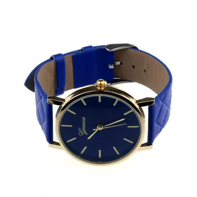 Watches-blue-PU Leather Casual Wrist Watch by Geneva for a Woman's Vegan Lifestyle