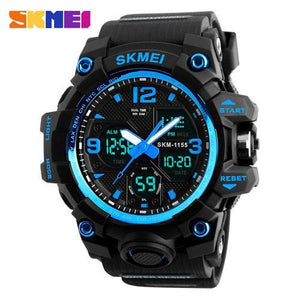 Watches-Blue-PU Leather Digital Sports Watch by Skmei for a Man's Vegan Lifestyle
