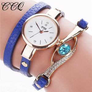 Watches-blue-PU Leather Faux Gemstone Bracelet Watch by CCQ for a Woman's Vegan Lifestyle