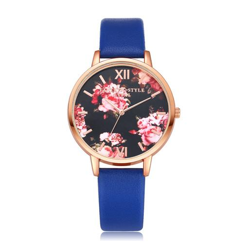 Watches-Blue-PU Leather Floral Background Watch for a Woman's Vegan Lifestyle