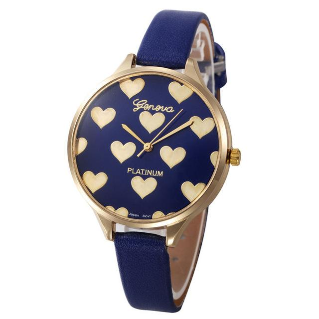 Watches-Blue-PU Leather Heart Pattern Watch by Geneva for a Woman's Vegan Lifestyle