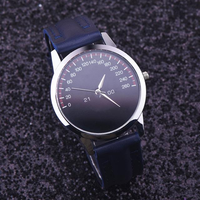 Watches-Blue-PU Leather Luxury Analog Watch for a Man's Vegan Lifestyle