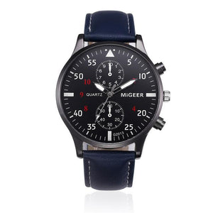 Watches-Blue-PU Leather Military Business Wrist Watch by MiGeer for a Man's Vegan Lifestyle