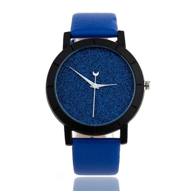 Watches-Blue-PU Leather Moon Hand Watch for a Woman's Vegan Lifestyle