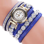 Watches-Blue-PU Leather Multi-layer Rhinestone Bracelet Wrist Watch by CCQ for a Woman's Vegan Lifestyle