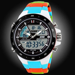 Watches-Blue/Color Strap-PU Leather Digital Sports Watch for a Man's Vegan Lifestyle