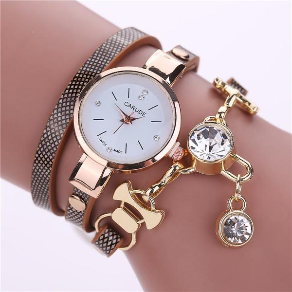 Watches-brown-PU Leather Bracelet & Crystal Pendant Watch by Carude for a Woman's Vegan Lifestyle