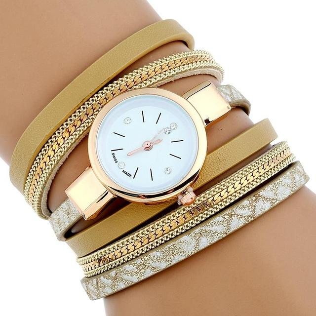 Watches-Brown-PU Leather Bracelet Wrist Watch for a Woman's Vegan Lifestyle