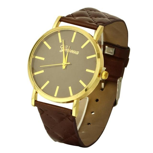 Watches-brown-PU Leather Casual Wrist Watch by Geneva for a Woman's Vegan Lifestyle