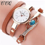 Watches-brown-PU Leather Faux Gemstone Bracelet Watch by CCQ for a Woman's Vegan Lifestyle