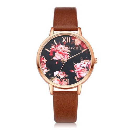 Watches-Brown-PU Leather Floral Background Watch for a Woman's Vegan Lifestyle