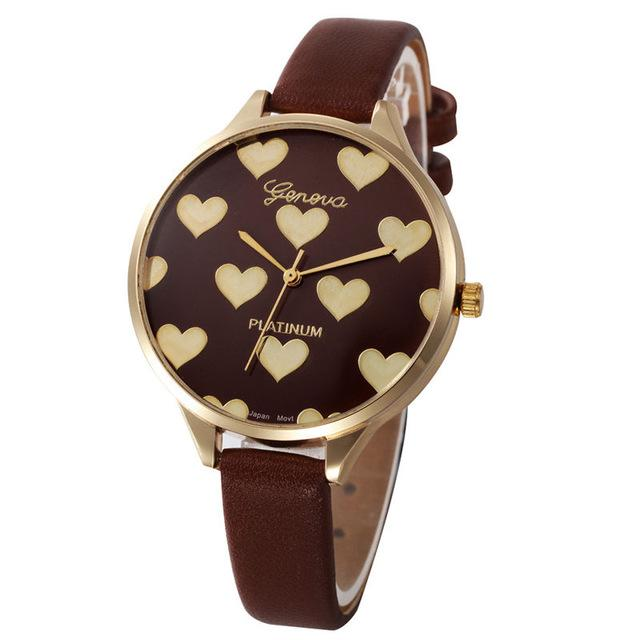 Watches-Brown-PU Leather Heart Pattern Watch by Geneva for a Woman's Vegan Lifestyle