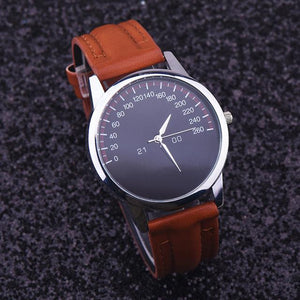 Watches-Brown-PU Leather Luxury Analog Watch for a Man's Vegan Lifestyle