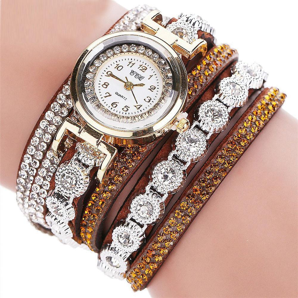 Watches-Brown-PU Leather Multi-layer Rhinestone Bracelet Wrist Watch by CCQ for a Woman's Vegan Lifestyle