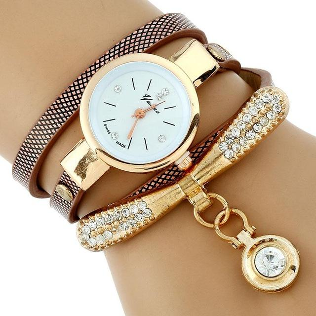 Watches-Brown-PU Leather Rhinestone Bracelet Watch for a Woman's Vegan Lifestyle