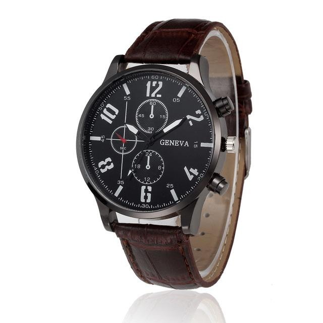 Watches-Brown-PU Leather Sports Watch by Geneva for a Man's Vegan Lifestyle