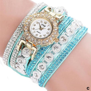 Watches-c-PU Leather Multi-layer Rhinestone Bracelet Watch for a Woman's Vegan Lifestyle