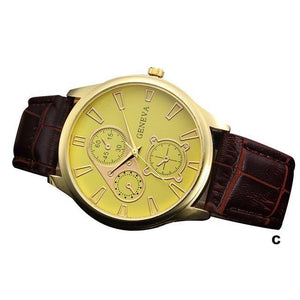 Watches-c-PU Leather Retro Design Watch by Geneva for a Man's Vegan Lifestyle