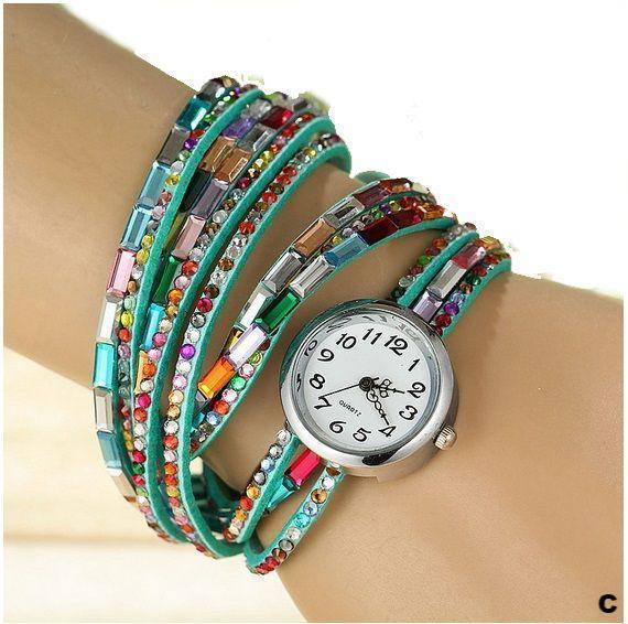 Watches-c-PU Leather Rhinestone Multi-layer Rainbow Bracelet Watch for a Woman's Vegan Lifestyle