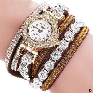 Watches-d-PU Leather Multi-layer Rhinestone Bracelet Watch for a Woman's Vegan Lifestyle