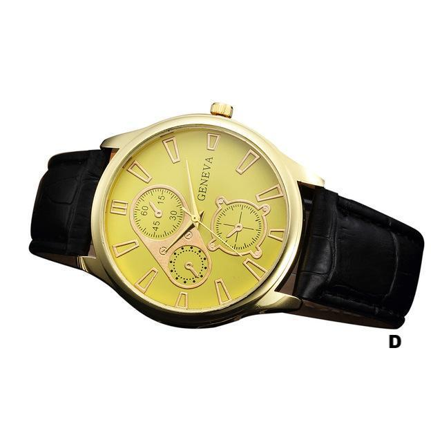 Watches-d-PU Leather Retro Design Watch by Geneva for a Man's Vegan Lifestyle