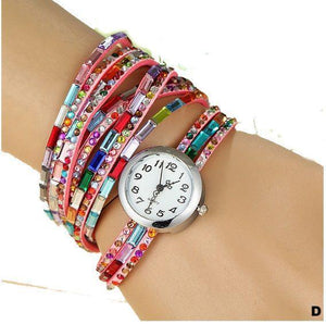 Watches-d-PU Leather Rhinestone Multi-layer Rainbow Bracelet Watch for a Woman's Vegan Lifestyle