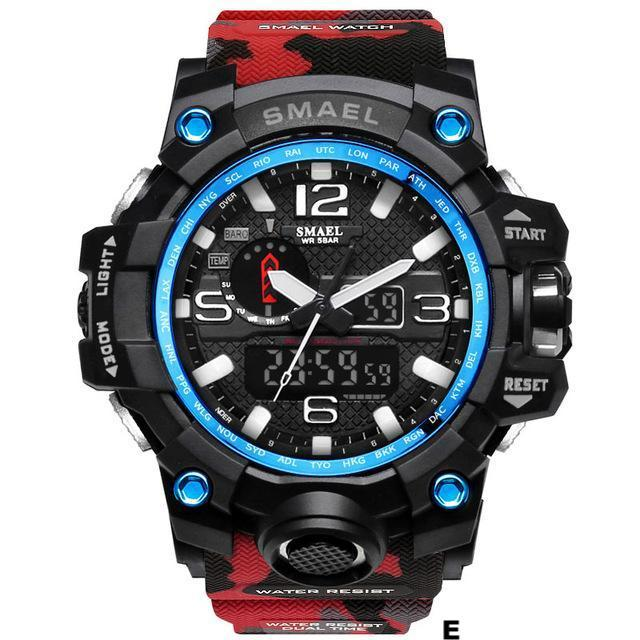 Watches-e-PU Leather Analog/LED Sports Watch by Smael for a Man's Vegan Lifestyle