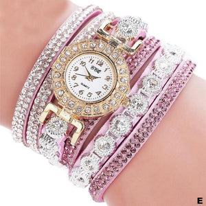 Watches-e-PU Leather Multi-layer Rhinestone Bracelet Watch for a Woman's Vegan Lifestyle
