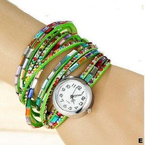Watches-e-PU Leather Rhinestone Multi-layer Rainbow Bracelet Watch for a Woman's Vegan Lifestyle