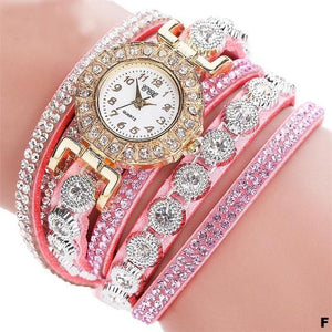 Watches-f-PU Leather Multi-layer Rhinestone Bracelet Watch for a Woman's Vegan Lifestyle