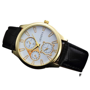 Watches-f-PU Leather Retro Design Watch by Geneva for a Man's Vegan Lifestyle