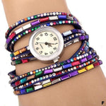 Watches-f-PU Leather Rhinestone Multi-layer Rainbow Bracelet Watch for a Woman's Vegan Lifestyle