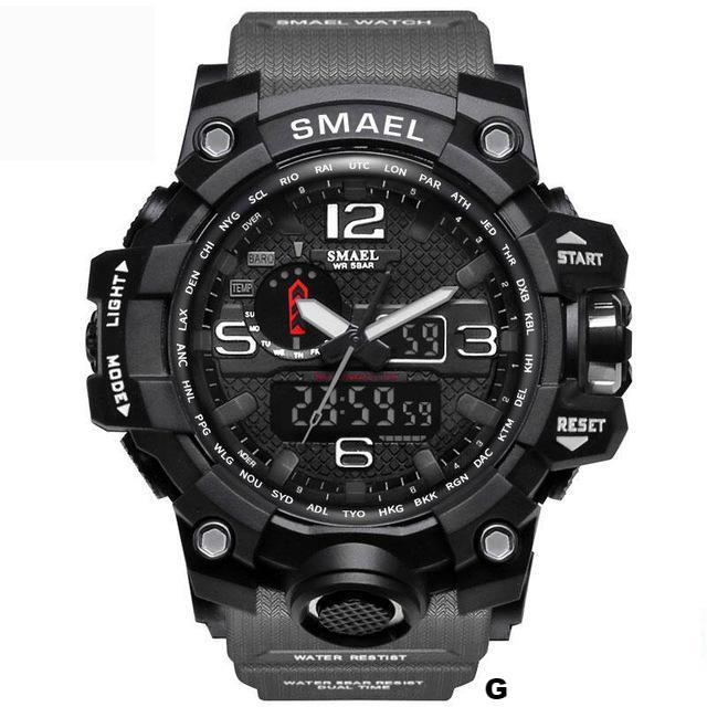Watches-g-PU Leather Analog/LED Sports Watch by Smael for a Man's Vegan Lifestyle