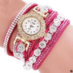 Watches-g-PU Leather Multi-layer Rhinestone Bracelet Watch for a Woman's Vegan Lifestyle