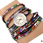 Watches-g-PU Leather Rhinestone Multi-layer Rainbow Bracelet Watch for a Woman's Vegan Lifestyle
