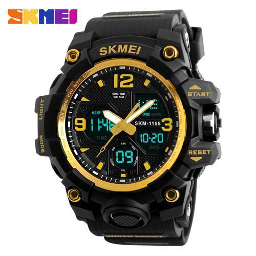 Watches-Gold-PU Leather Digital Sports Watch by Skmei for a Man's Vegan Lifestyle