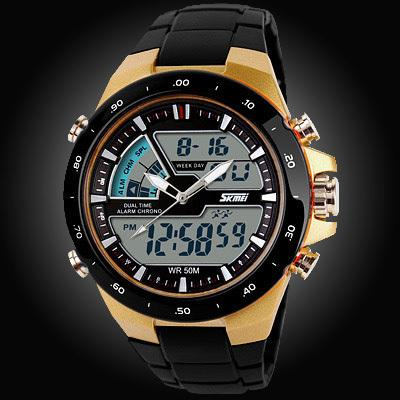 Watches-Gold/Black Strap-PU Leather Digital Sports Watch for a Man's Vegan Lifestyle