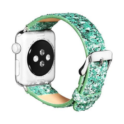 Watches-Green-For 38MM-PU Leather Apple Watch Strap for a Woman's Vegan Lifestyle
