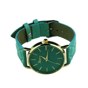 Watches-green-PU Leather Casual Wrist Watch by Geneva for a Woman's Vegan Lifestyle