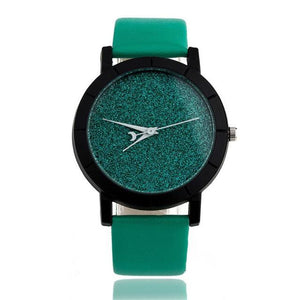 Watches-Green-PU Leather Moon Hand Watch for a Woman's Vegan Lifestyle