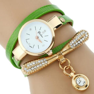 Watches-Green-PU Leather Rhinestone Bracelet Watch for a Woman's Vegan Lifestyle
