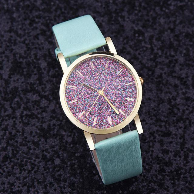 Watches-Green-PU Leather Speckled Effect Rhinestone Watch for a Woman's Vegan Lifestyle