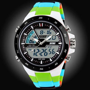 Watches-Green/Color Strap-PU Leather Digital Sports Watch for a Man's Vegan Lifestyle