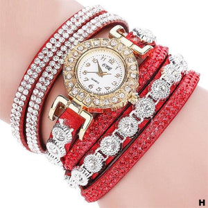 Watches-h-PU Leather Multi-layer Rhinestone Bracelet Watch for a Woman's Vegan Lifestyle