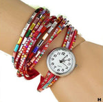 Watches-h-PU Leather Rhinestone Multi-layer Rainbow Bracelet Watch for a Woman's Vegan Lifestyle